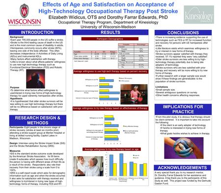 Effects of Age and Satisfaction on Acceptance of High-Technology Occupational Therapy Post Stroke Elizabeth Widicus, OTS and Dorothy Farrar Edwards, PhD.