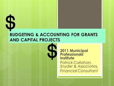 BUDGETING & ACCOUNTING FOR GRANTS AND CAPITAL PROJECTS 2011 Municipal Professionals' Institute Patrick Callahan, Snyder & Associates, Financial Consultant.