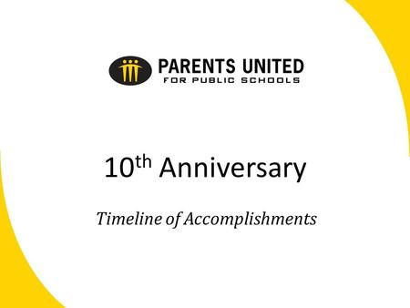 10 th Anniversary Timeline of Accomplishments. Engaging the Community for 10 Years The Early Years 2002-2004 December – in separate effort, Save Our Schools.