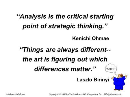 """Analysis is the critical starting point of strategic thinking."" ""Things are always different-- the art is figuring out which differences matter."" ""Quote"""