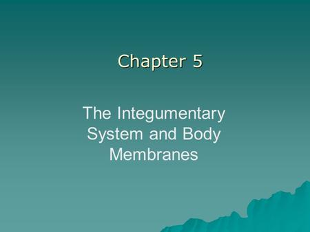 The Integumentary System and Body Membranes Chapter 5.