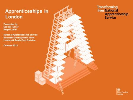 Apprenticeships in London Presented by Brontë Turner Negat Lodhi National Apprenticeship Service Business Development Team London & South East Division.