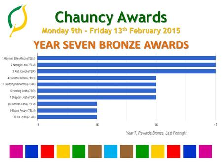 Chauncy Awards Monday 9th - Friday 13 th February 2015 YEAR SEVEN BRONZE AWARDS.