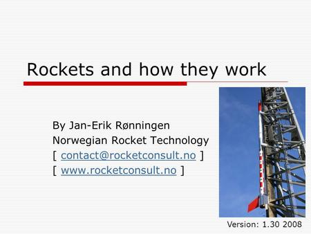 Rockets and how they work