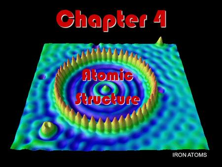 Chapter 4 AtomicStructure IRON ATOMS. Section 4.1 – Defining the Atom All matter is composed of atoms. All matter is composed of atoms. An atom is the.