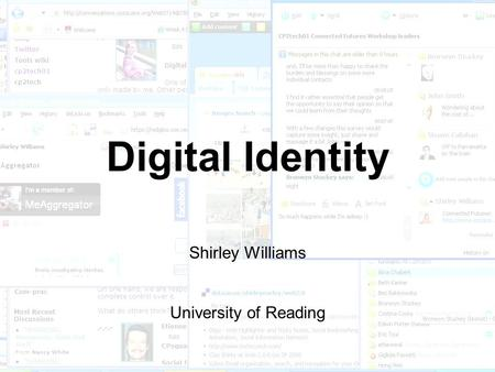Digital Identity Shirley Williams University of Reading.