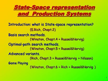 1 State-Space representation and Production Systems Introduction: what is State-space representation? (E.Rich, Chapt.2) Basis search methods. (Winston,