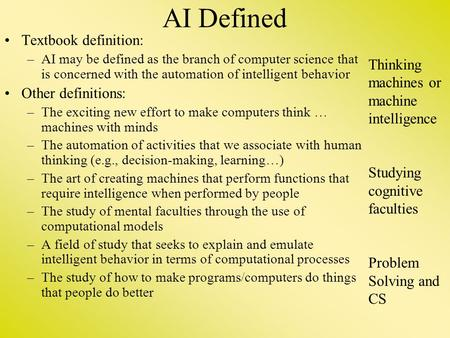 AI Defined Textbook definition: