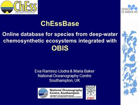 ChEssBase Online database for species from deep-water chemosynthetic ecosystems integrated with OBIS Eva Ramirez-Llodra & Maria Baker National Oceanography.