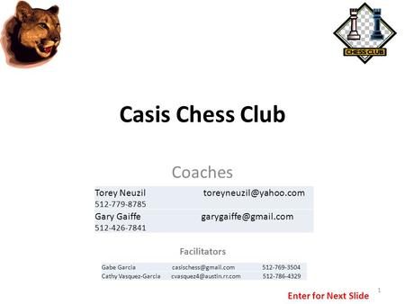 Casis Chess Club Coaches