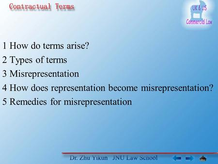 1 How do terms arise? 2 Types of terms 3 Misrepresentation 4 How does representation become misrepresentation? 5 Remedies for misrepresentation.
