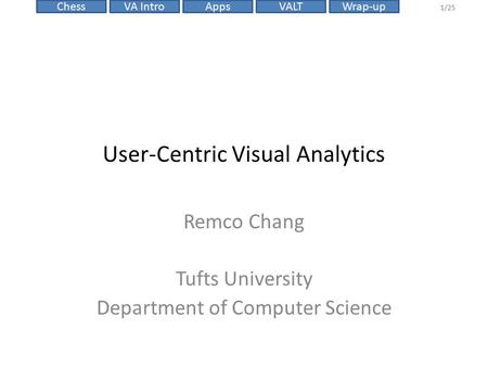 VALTChessVA IntroAppsWrap-up 1/25 User-Centric Visual Analytics Remco Chang Tufts University Department of Computer Science.