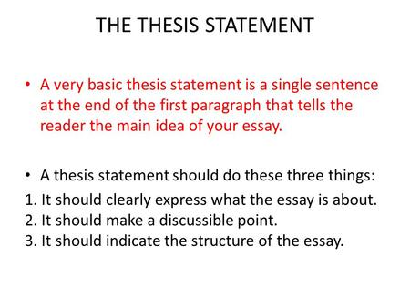 writing an essay effective writing  is focused on the topic and  the thesis statement a very basic thesis statement is a single sentence at the end of