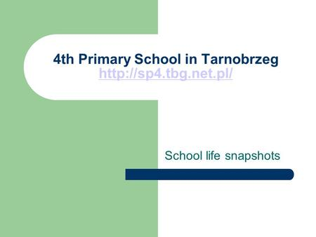 4th Primary School in Tarnobrzeg   School life snapshots.