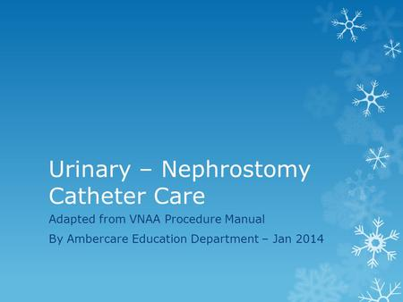 Urinary – Nephrostomy Catheter Care Adapted from VNAA Procedure Manual By Ambercare Education Department – Jan 2014.
