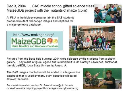 Dec 3, 2004SAS middle school gifted science class. MaizeGDB project with the mutants of maize (corn) At FSU in the biology computer lab, the SAS students.