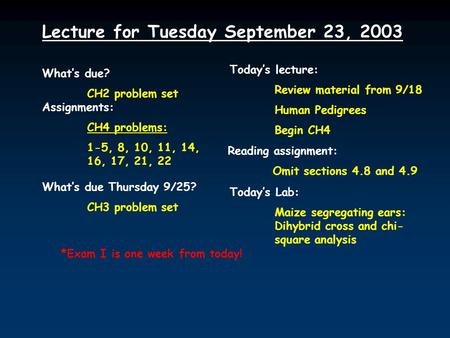Lecture for Tuesday September 23, 2003 What's due? CH2 problem set Assignments: CH4 problems: 1-5, 8, 10, 11, 14, 16, 17, 21, 22 What's due Thursday 9/25?