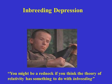 "Inbreeding Depression ""You might be a redneck if you think the theory of relativity has something to do with inbreeding"""