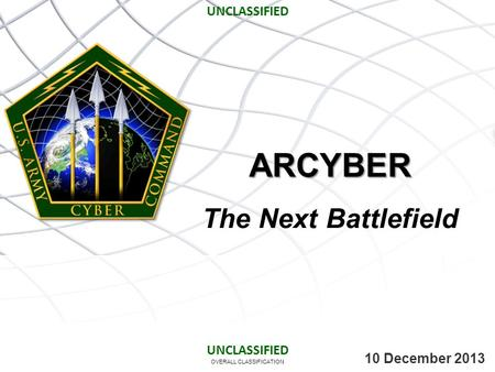 ARCYBER The Next Battlefield UNCLASSIFIED UNCLASSIFIED