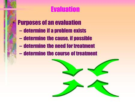 Evaluation Purposes of an evaluation –determine if a problem exists –determine the cause, if possible –determine the need for treatment –determine the.