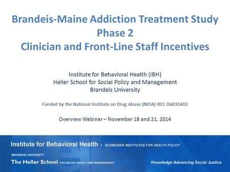 Brandeis-Maine Addiction Treatment Study Phase 2 Clinician and Front-Line Staff Incentives Institute for Behavioral Health (IBH) Heller School for Social.