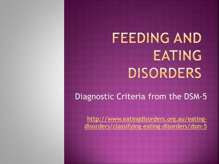 Diagnostic Criteria from the DSM-5  disorders/classifying-eating-disorders/dsm-5.