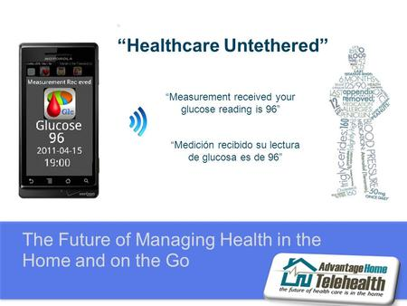 "The Future of Managing Health in the Home and on the Go "" ""Healthcare Untethered"" ""Measurement received your glucose reading is 96"" ""Medición recibido."