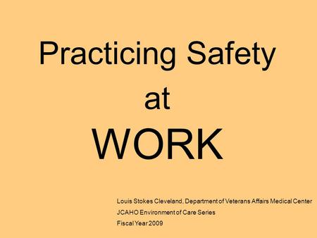 Practicing Safety at WORK Louis Stokes Cleveland, Department of Veterans Affairs Medical Center JCAHO Environment of Care Series Fiscal Year 2009.