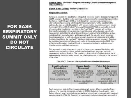 FOR SASK RESPIRATORY SUMMIT ONLY DO NOT CIRCULATE.