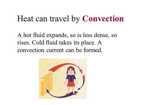 Heat can travel by Convection A hot fluid expands, so is less dense, so rises. Cold fluid takes its place. A convection current can be formed.