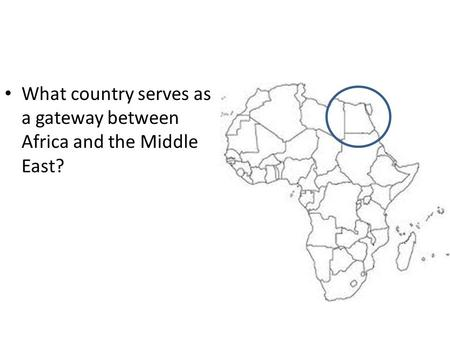 What country serves as a gateway between Africa and the Middle East?
