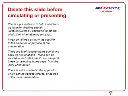 1 This is a presentation to help individuals working for charities explain 'JustTextGiving by Vodafone' to others within their charitable organisation.