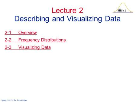 Slide 1 Spring, 2005 by Dr. Lianfen Qian Lecture 2 Describing and Visualizing Data 2-1 Overview 2-2 Frequency Distributions 2-3 Visualizing Data.