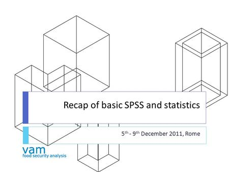Recap of basic SPSS and statistics 5 th - 9 th December 2011, Rome.