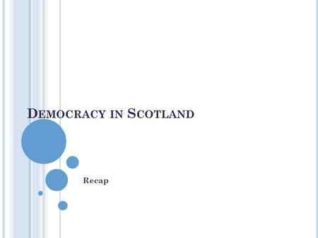 D EMOCRACY IN S COTLAND Recap. In a democracy, citizens can participate freely through voting to elect their political representatives. They also have.