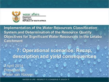 Implementation of the Water Resources Classification System and Determination of the Resource Quality Objectives for Significant Water Resources in the.