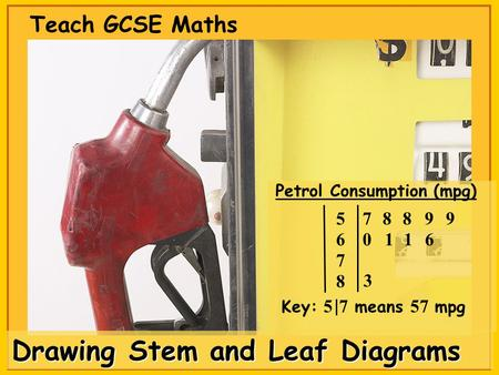 Drawing Stem and Leaf Diagrams Teach GCSE Maths Petrol Consumption (mpg) 8 7 6 58 0 87 Key: 5 7 means 57 mpg 3 99 116.