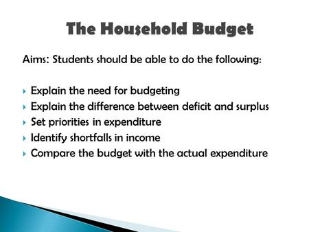 Aims : Students should be able to do the following:  Explain the need for budgeting  Explain the difference between deficit and surplus  Set priorities.