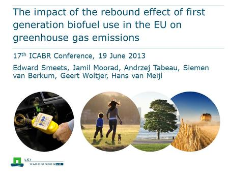 The impact of the rebound effect of first generation biofuel use in the EU on greenhouse gas emissions 17 th ICABR Conference, 19 June 2013 Edward Smeets,