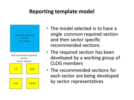 Reporting template model Required reporting section ALL sectors Recommended reporting section Sector specific LA NDPB+ FHEI NHS The model selected is to.