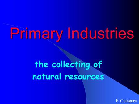 Primary Industries the collecting of natural resources F. Ciangura.
