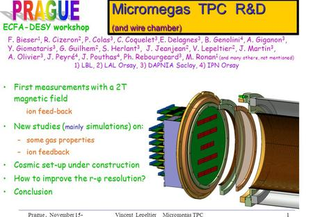 Prague, November 15- 18th, 2002 Vincent Lepeltier Micromegas TPC R&D 1 Micromegas TPC R&D (and wire chamber) First measurements with a 2T magnetic fieldFirst.