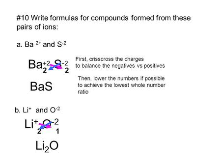 #10 Write formulas for compounds formed from these pairs of ions: a. Ba 2+ and S -2 Ba +2 S - 2 22 First, crisscross the charges to balance the negatives.