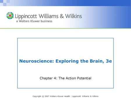 Copyright © 2007 Wolters Kluwer Health | Lippincott Williams & Wilkins Neuroscience: Exploring the Brain, 3e Chapter 4: The Action Potential.