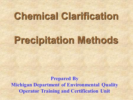 Chemical Clarification Precipitation Methods