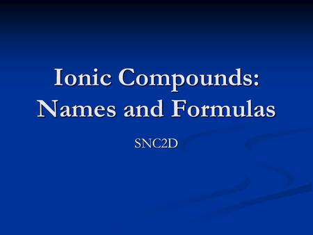 Ionic Compounds: Names and Formulas SNC2D. Counting Ions Sodium chloride or NaCl contains 1 sodium ion and 1 chloride ion. (Lewis dot diagrams)