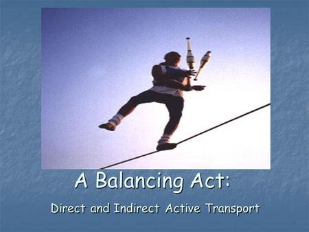 A Balancing Act: Direct and Indirect Active Transport