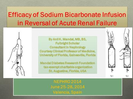 Efficacy of Sodium Bicarbonate Infusion in Reversal of Acute Renal Failure 1 NEPHRO 2014 June 25-28, 2014 Valencia, Spain.