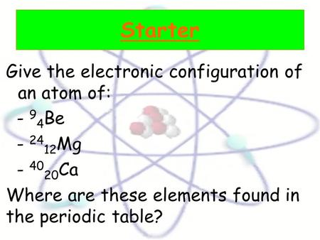 Starter Give the electronic configuration of an atom of: - 9 4 Be - 24 12 Mg - 40 20 Ca Where are these elements found in the periodic table?