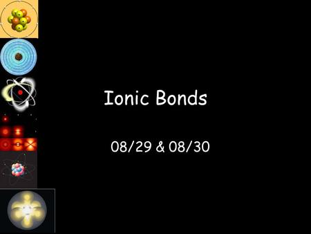 Ionic Bonds 08/29 & 08/30 Catalyst Complete the Chart.